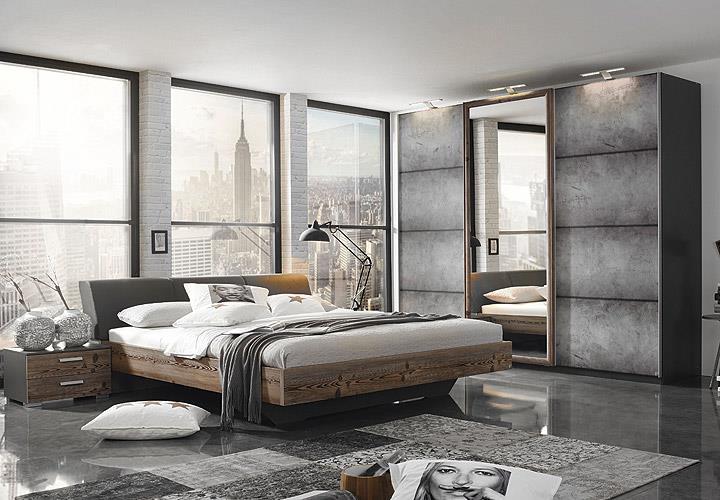 Schlafzimmer-Set Streetway Kleiderschrank Bett Nakos Lärche Basalt