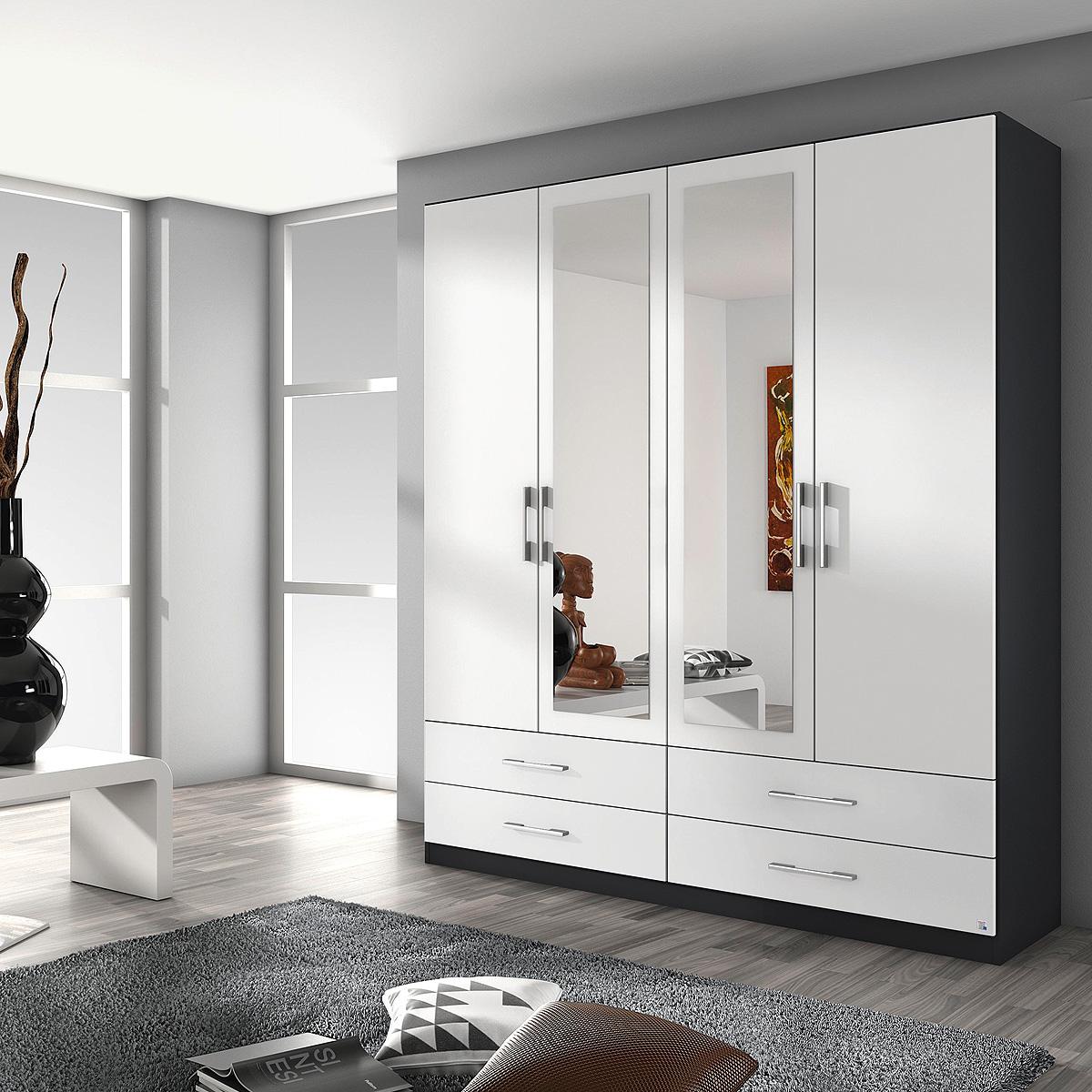 kleiderschrank hersbruck schrank in wei grau metallic oder eiche stirling 181 ebay. Black Bedroom Furniture Sets. Home Design Ideas