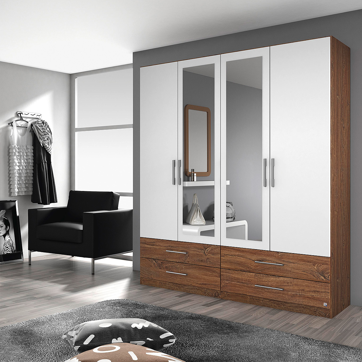 kleiderschrank hersbruck schrank in wei grau metallic oder eiche stirling 181 ebay. Black Bedroom Furniture Sets. Home Design Ideas