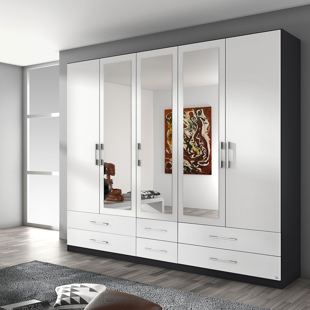 kleiderschrank hersbruck schrank in wei grau metallic oder eiche stirling 226 ebay. Black Bedroom Furniture Sets. Home Design Ideas
