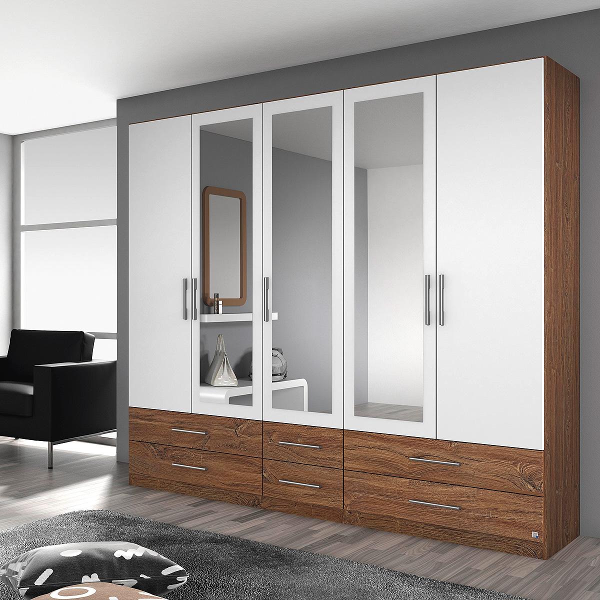kleiderschrank hersbruck schrank in wei grau metallic oder eiche stirling 226 ebay. Black Bedroom Furniture Sets. Home Design Ideas