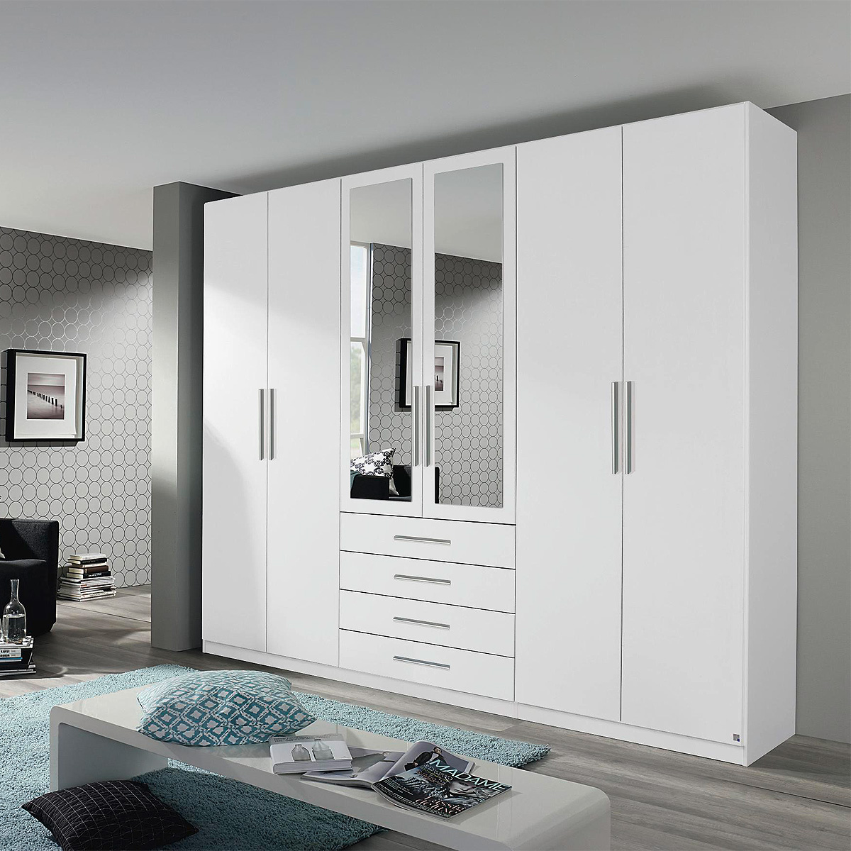 kleiderschrank kempten schrank schlafzimmer in wei und sonoma eiche spiegel 271 ebay. Black Bedroom Furniture Sets. Home Design Ideas