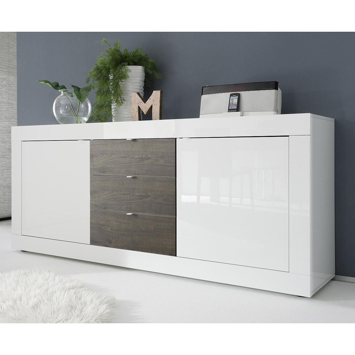 Sideboard Basic Kommode weiß und Eiche wenge lackiert B 210 cm
