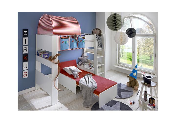Steens Etagenbett Aufbauanleitung : Hochbett steens for kids bett weiß vorhänge taschen tunnelzelt