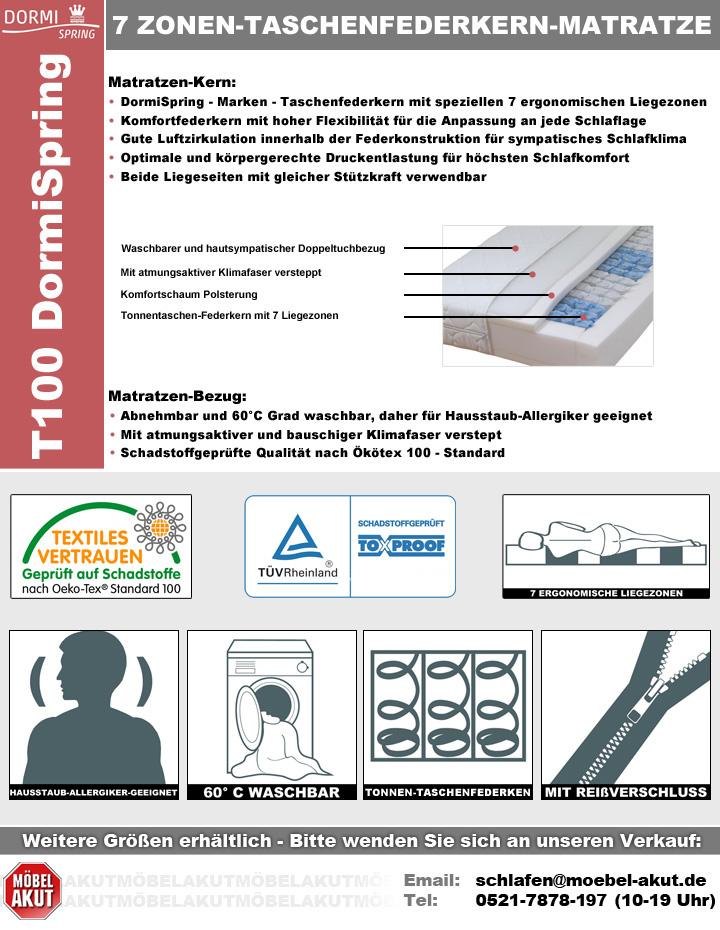 taschenfederkern matratze 7 zonen dormispring t100 h3 90x200. Black Bedroom Furniture Sets. Home Design Ideas