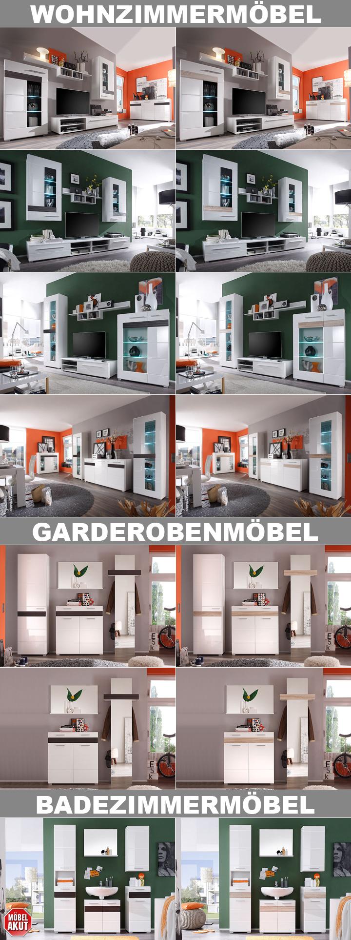 badezimmerset mezzo wei hochglanz sonoma s gerau hell. Black Bedroom Furniture Sets. Home Design Ideas