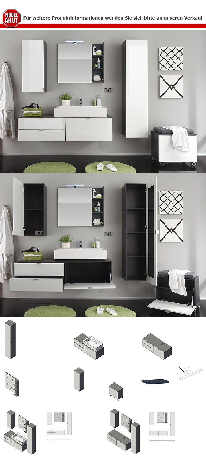 unterschrank beach badm bel wei hochglanz tiefzieh grau. Black Bedroom Furniture Sets. Home Design Ideas