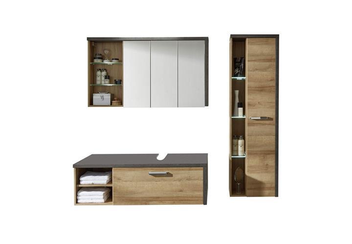 badezimmer set 1 bahia eiche riviera honig und beton dunkel badm bel bad ebay. Black Bedroom Furniture Sets. Home Design Ideas