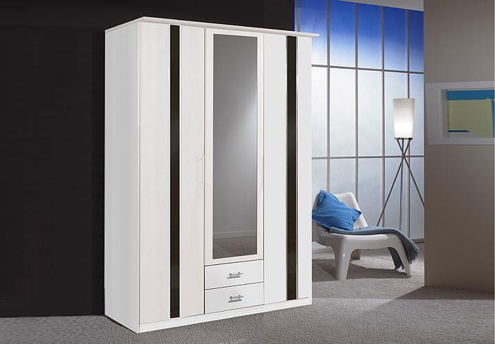 HIT Kleiderschrank 180 cm Weiß/Schwarz Hochglanz