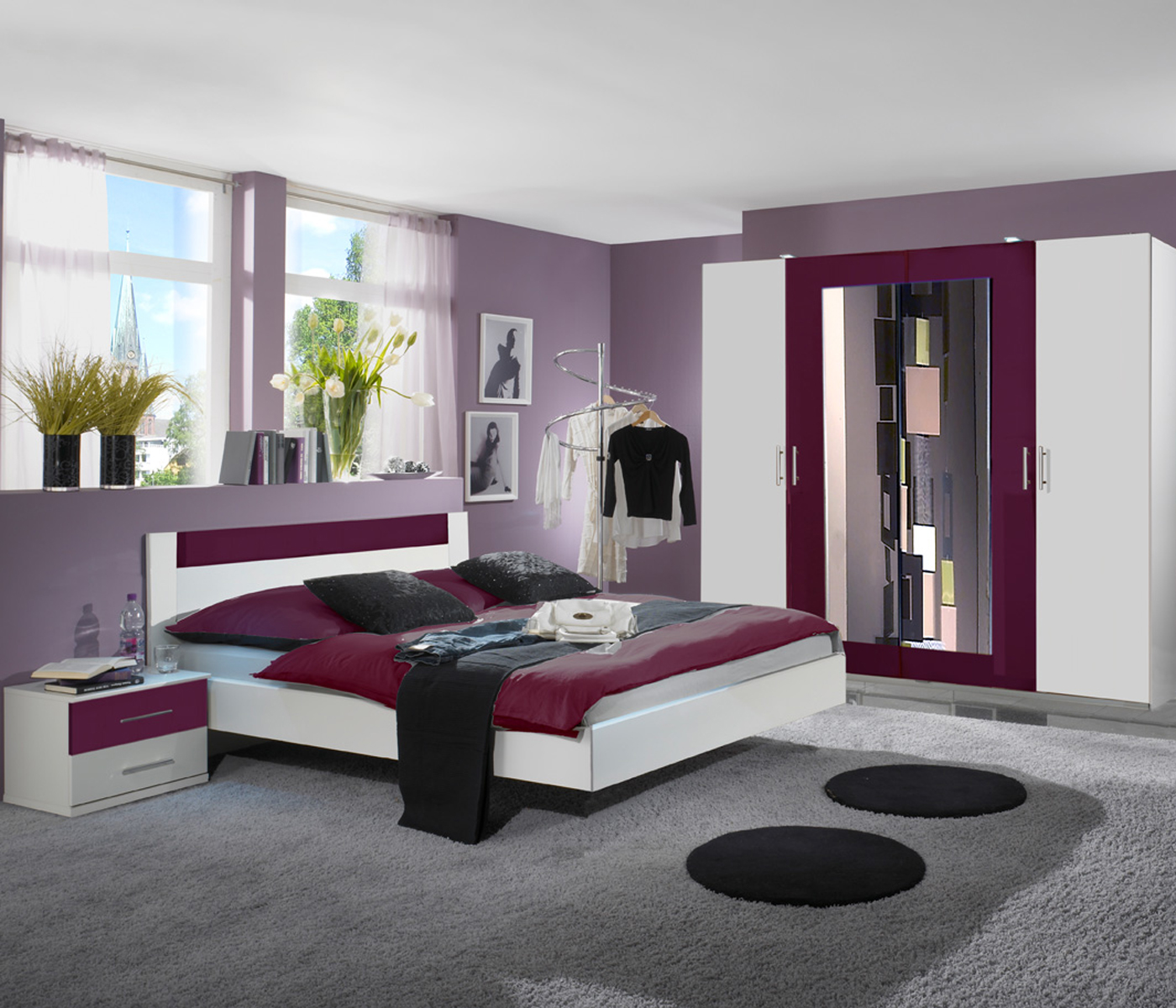 schlafzimmer komplettset kleiderschrank bett 180x200 nachttische ebay. Black Bedroom Furniture Sets. Home Design Ideas