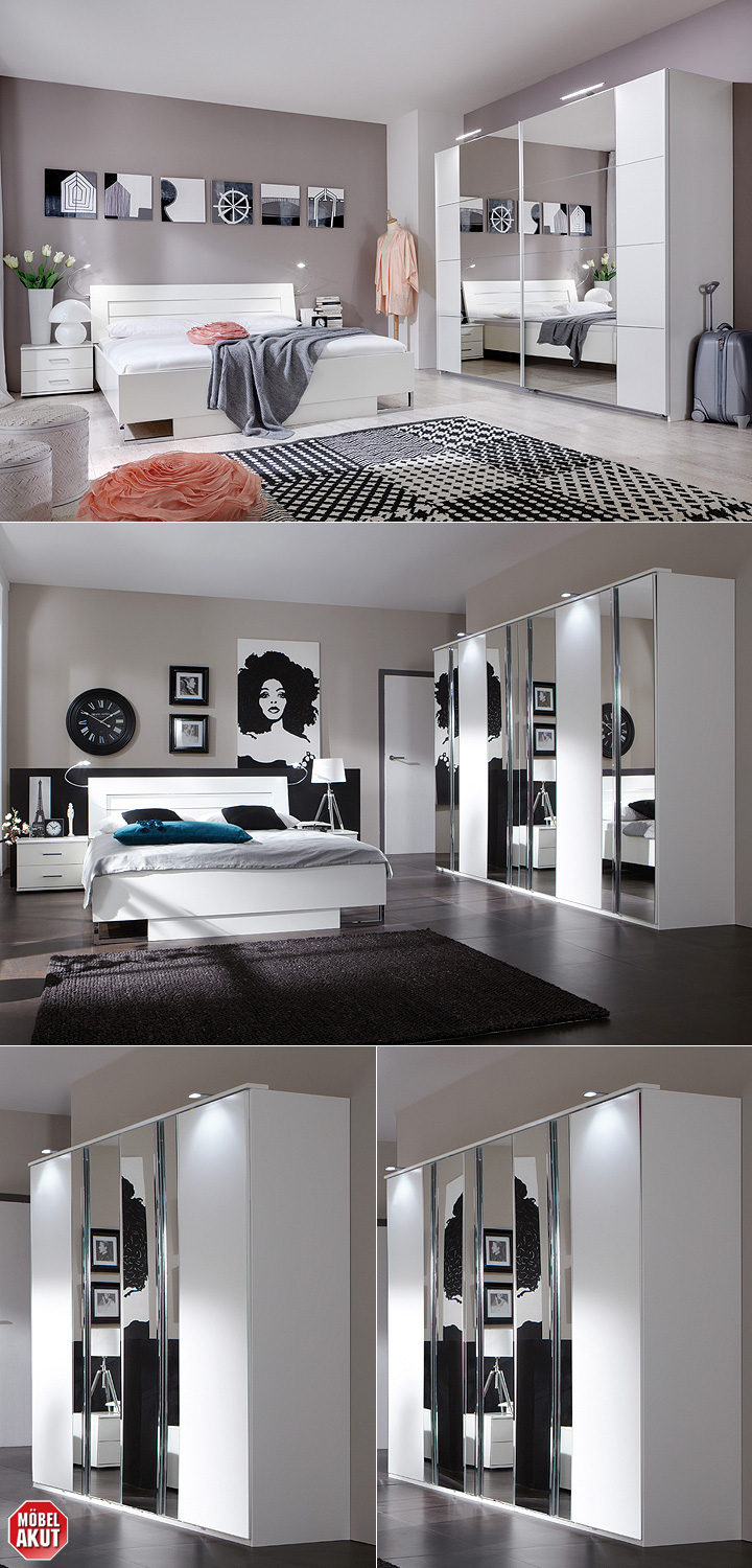 kleiderschrank davos 180 cm in alpinwei chrom mit spiegel. Black Bedroom Furniture Sets. Home Design Ideas