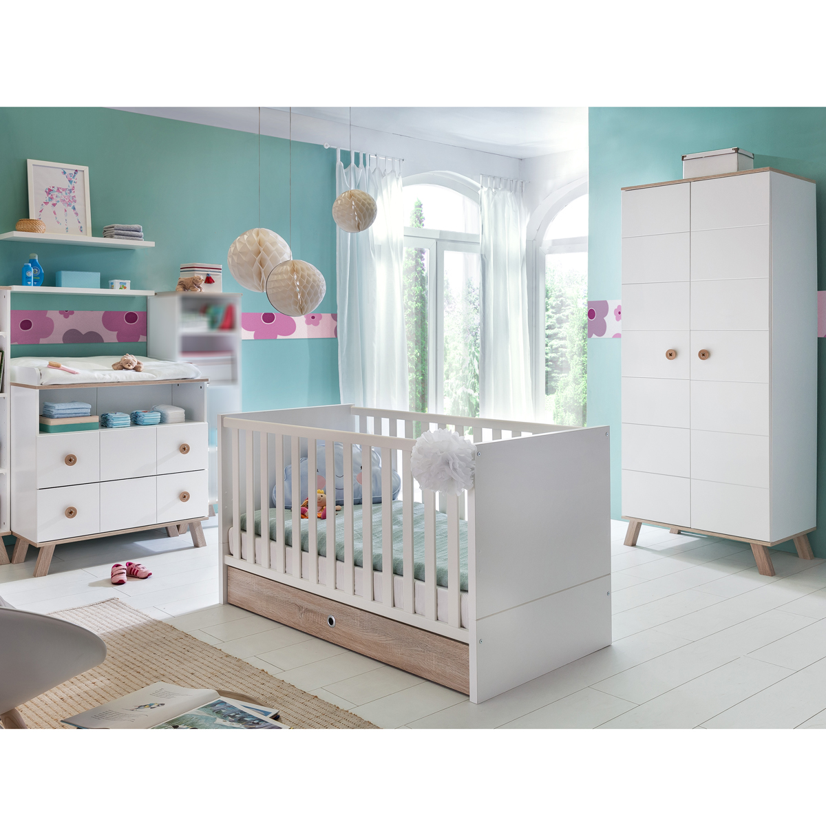 babyzimmer set billu kinderzimmer baby erstausstattung wei eiche komplettset ebay. Black Bedroom Furniture Sets. Home Design Ideas