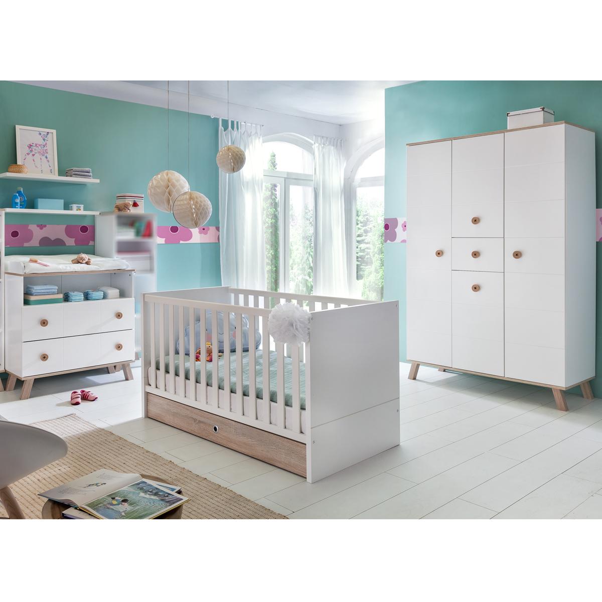 babyzimmer set billu kinderzimmer baby erstausstattung wei eiche komplettset ebay. Black Bedroom Furniture Sets. Home Design Ideas