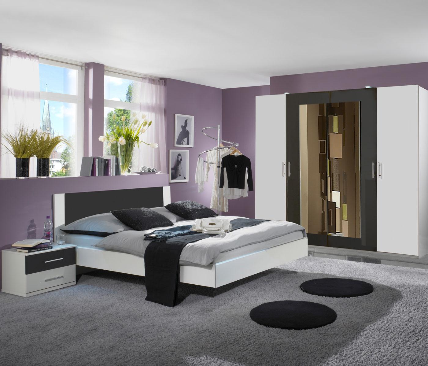 Schlafzimmer komplettset kleiderschrank bett 180x200 for Schlafzimmer komplettset