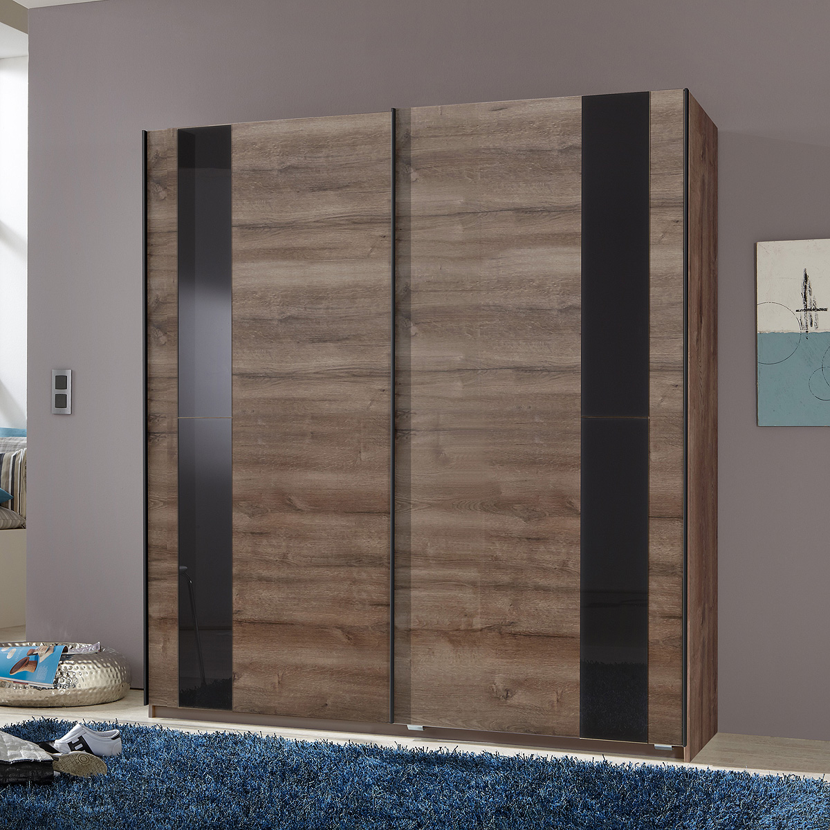 schwebet renschrank kiel schrank wei anthrazit schlammeiche glas grau schwarz ebay. Black Bedroom Furniture Sets. Home Design Ideas