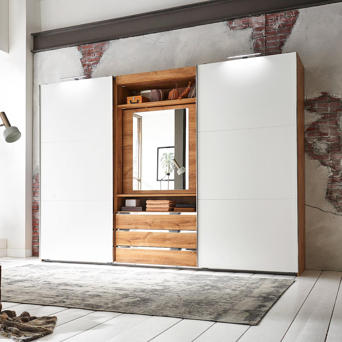 schwebet renschrank magic kleiderschrank plankeneiche schlammeiche wei grau ebay. Black Bedroom Furniture Sets. Home Design Ideas