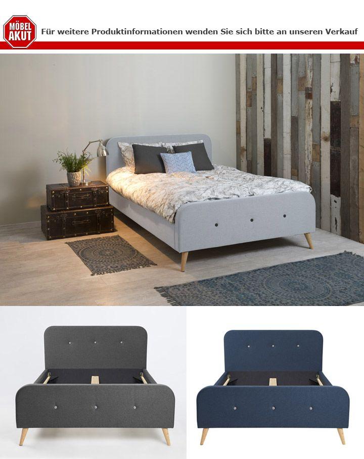 bett agnes bettgestell bezug stoff dunkelblau 140x200 cm. Black Bedroom Furniture Sets. Home Design Ideas