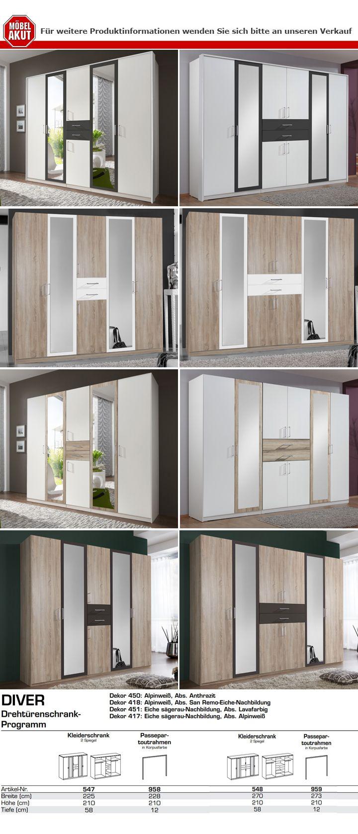 Kleiderschrank Diver Schrank Schlafzimmer weiß Absetzungen anthrazit B 270 cm  eBay