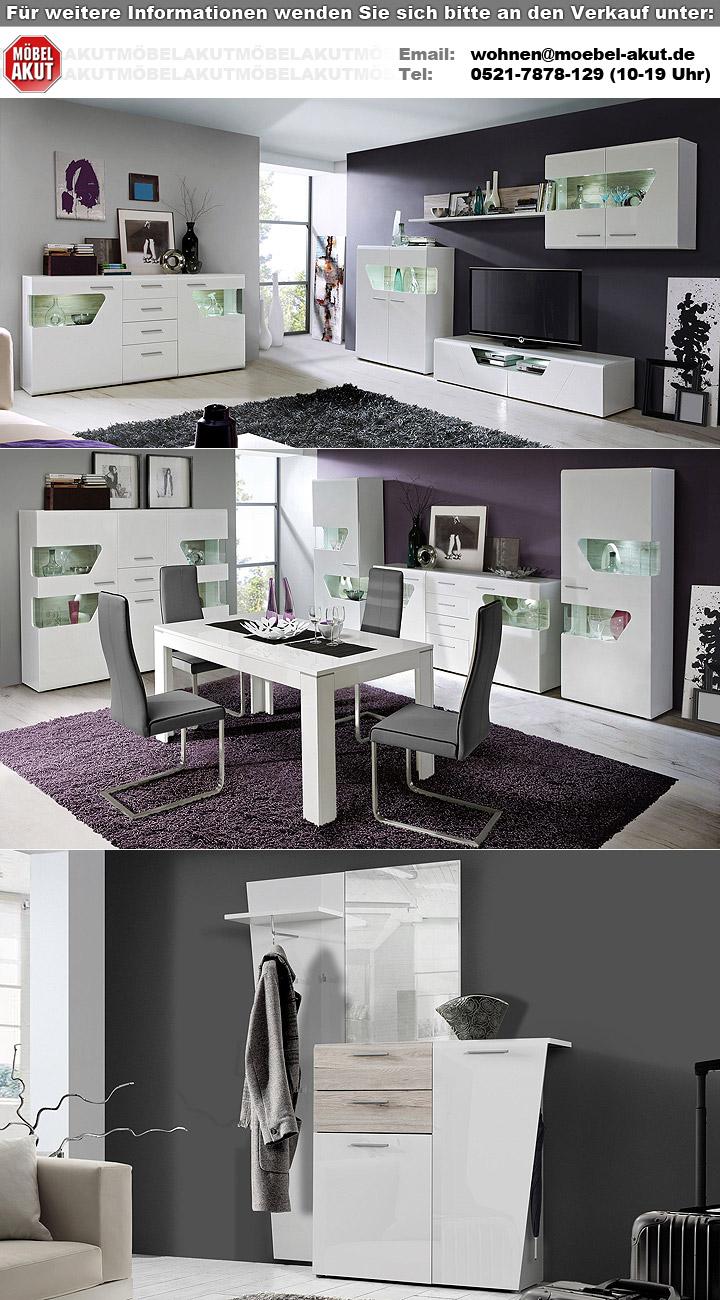 highboard kando mdf wei hochglanz und sandeiche. Black Bedroom Furniture Sets. Home Design Ideas