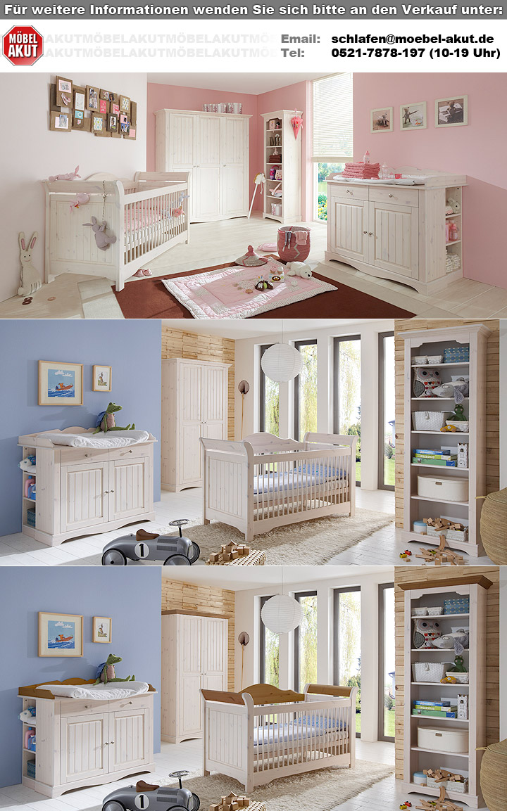 Babyzimmer Lotta Babybett Schrank Wickelkommode Kiefer Massiv Weiss
