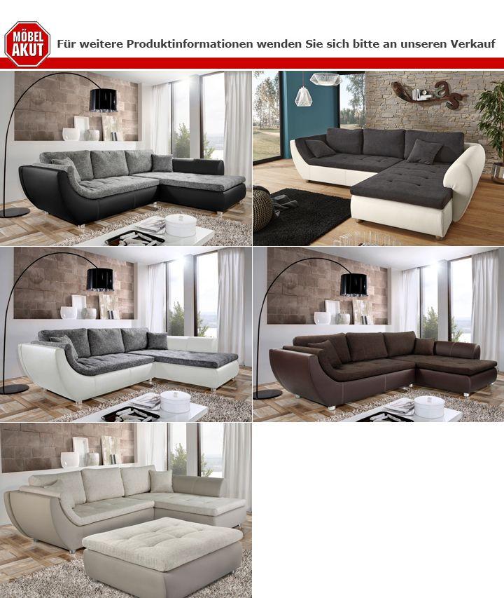 ecksofa wohnlandschaft avus wei strukturstoff grau. Black Bedroom Furniture Sets. Home Design Ideas