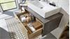 Waschbeckenunterschrank 2 BAHIA mit Waschbecken Eiche Riviera
