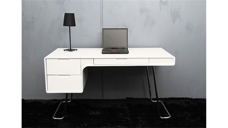 Schreibtisch flair tisch in wei und hochglanz 140x75x70 for Schreibtisch tisch