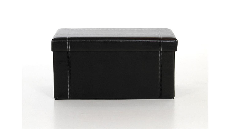 hocker napi lederlook schwarz mit deckel und stauraum. Black Bedroom Furniture Sets. Home Design Ideas