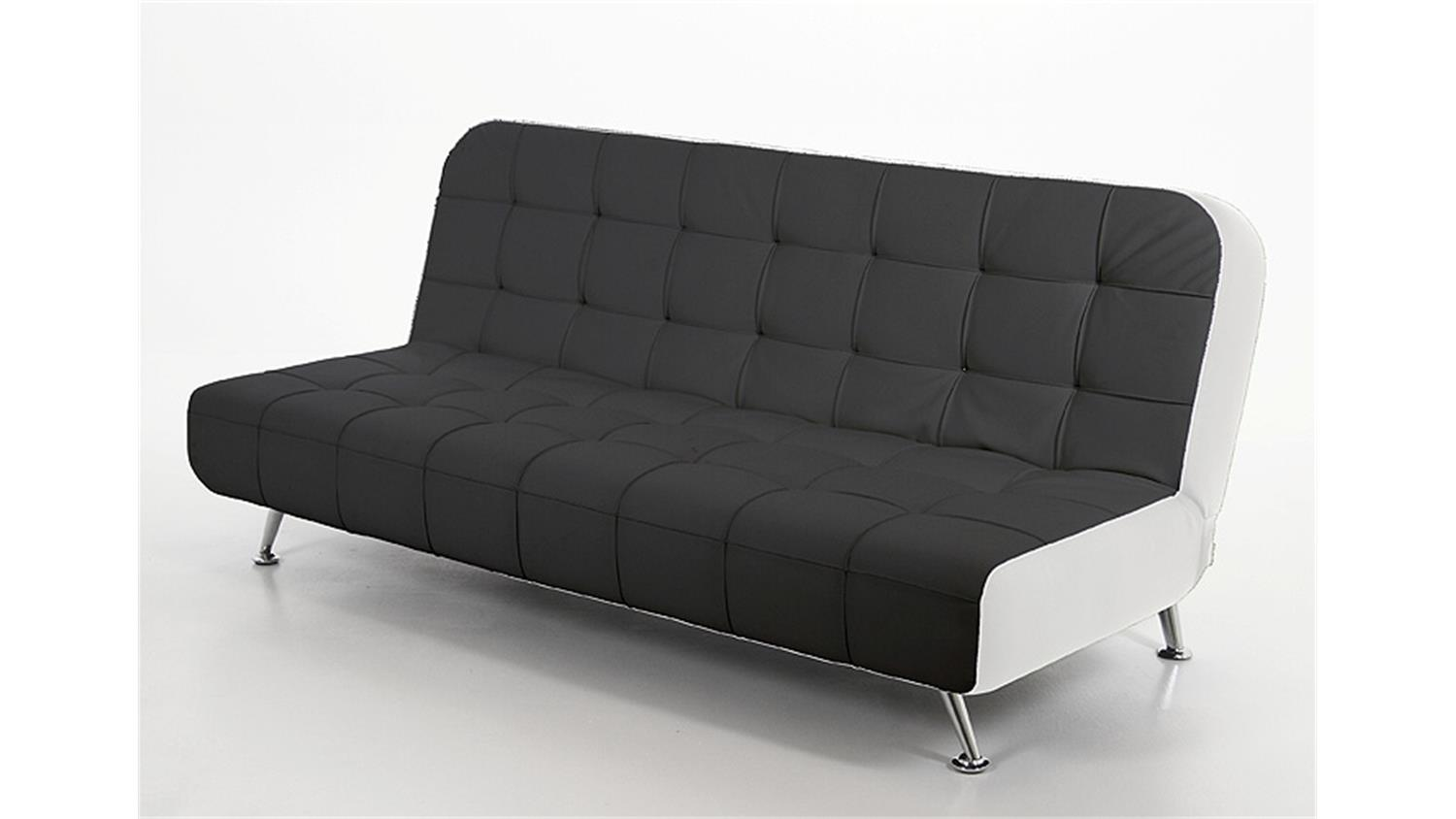 schlafsofa reggae sofa bettcouch in schwarz wei und chrom. Black Bedroom Furniture Sets. Home Design Ideas