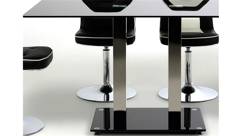 Esstisch elkin schwarz glas stahl 140 cm for Designer esstisch schwarz