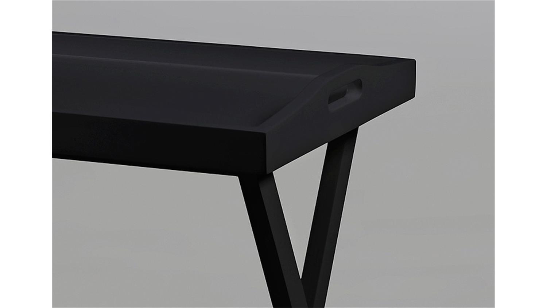 beistelltisch vassoio schwarz lack und kiefer massiv schwarz. Black Bedroom Furniture Sets. Home Design Ideas