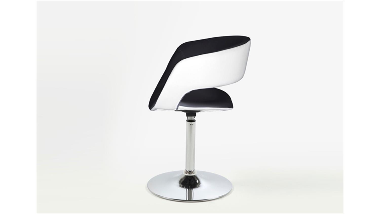 stuhl grace stoff lederlook wei schwarz mit trompetenfu. Black Bedroom Furniture Sets. Home Design Ideas