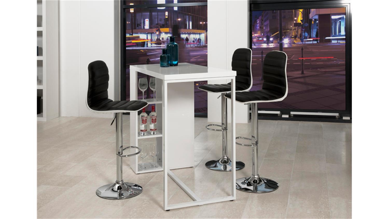 bartisch avocet holz hochglanz wei lackiert metallgestell. Black Bedroom Furniture Sets. Home Design Ideas