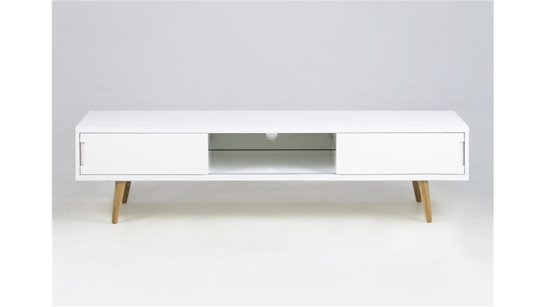 tv tisch tv lowboard in wei matt mit eiche massivholz concept beton tv mbel wohnzimmer. Black Bedroom Furniture Sets. Home Design Ideas
