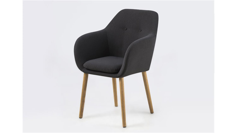 stuhl emilia armlehnstuhl in dunkelgrau stoff gestell eiche. Black Bedroom Furniture Sets. Home Design Ideas