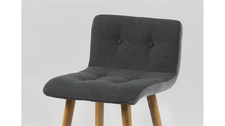 Barhocker frida 2er set stuhl stoff dunkelgrau gestell eiche for Barhocker 2er
