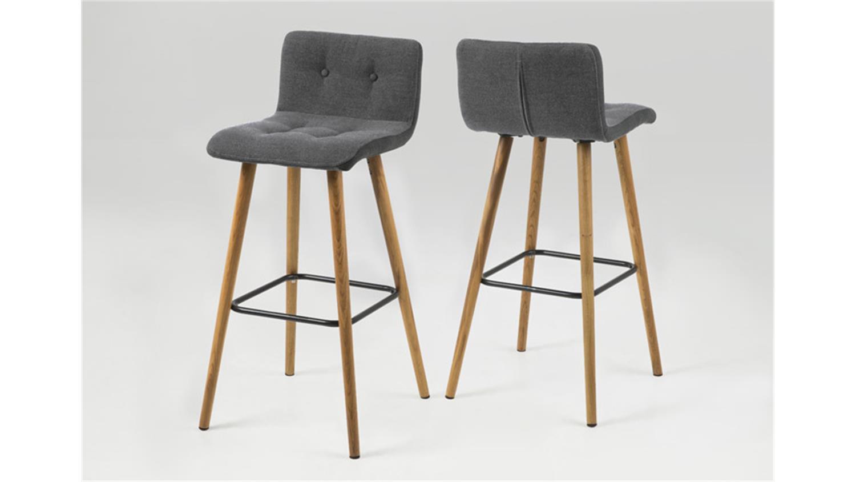 barhocker frida 2er set stuhl stoff hellgrau gestell eiche. Black Bedroom Furniture Sets. Home Design Ideas