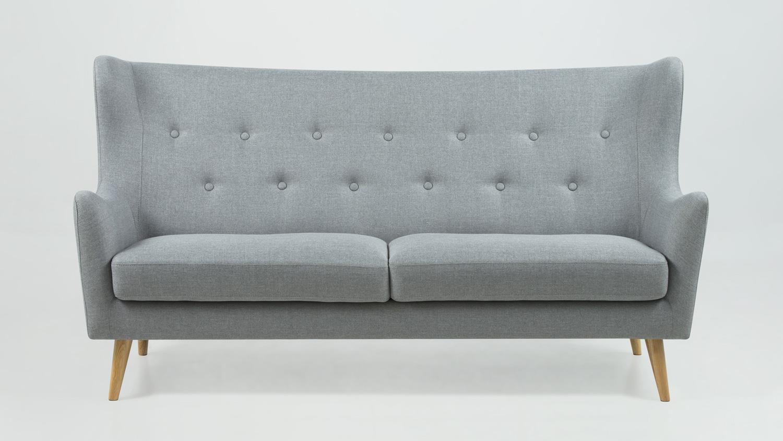 sofa 3 sitzer kamma retro couch polsterm bel stoff hellgrau. Black Bedroom Furniture Sets. Home Design Ideas