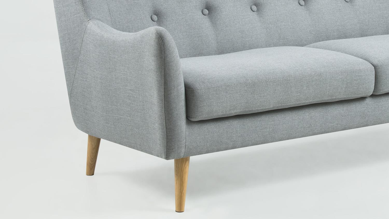 garnitur kamma retro 3 sitzer sofa sessel stoff hellgrau. Black Bedroom Furniture Sets. Home Design Ideas