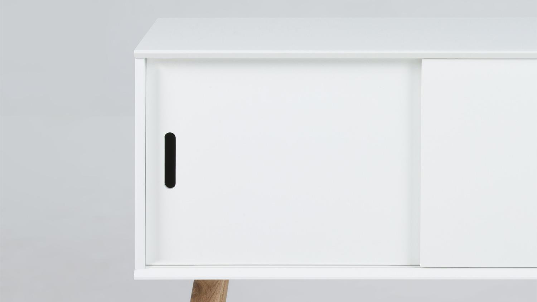 kommode mitra anrichte sideboard wei mit holzbeinen eiche. Black Bedroom Furniture Sets. Home Design Ideas