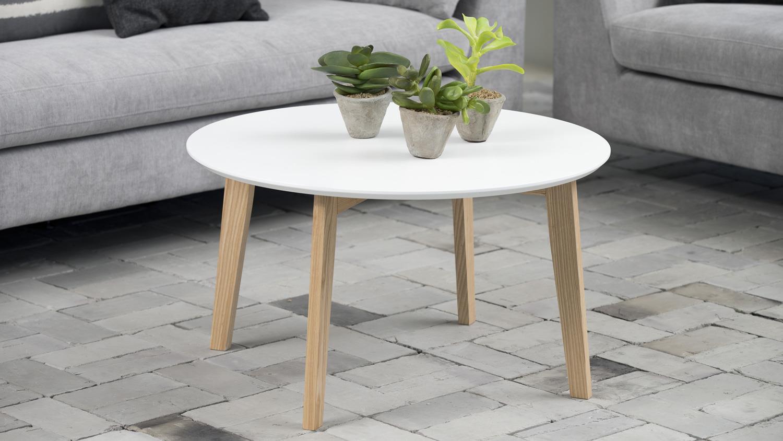 Couchtisch MOLINA Tischplatte weiß lackiert Esche teilmassiv