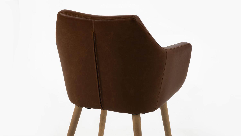 Stuhl nora armlehnstuhl sessel in vintage lederlook braun for Design stuhl nora