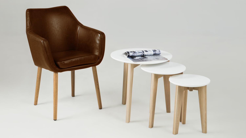 Stuhl NORA Armlehnstuhl Sessel in Vintage Lederlook braun Eiche