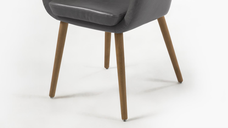 stuhl nora armlehnstuhl in vintage sessel lederlook grau eiche. Black Bedroom Furniture Sets. Home Design Ideas