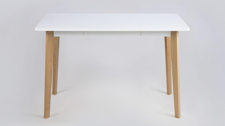 Schreibtisch raven 117x58cm gestell birke platte wei lackiert for Schreibtisch gestell