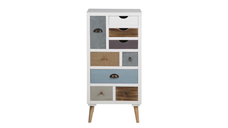 kommode thais highboard wei mit 9 schubk sten bunt. Black Bedroom Furniture Sets. Home Design Ideas