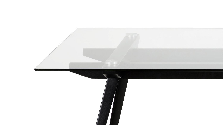 Esstisch monti tisch glas gestell schwarzes metall 180x90 cm for Esstisch tisch