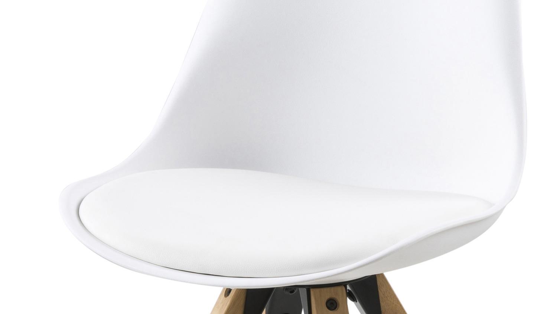 Stuhl dima 2er set kunststoff gepolstert wei beine eiche for Stuhl 4 beine