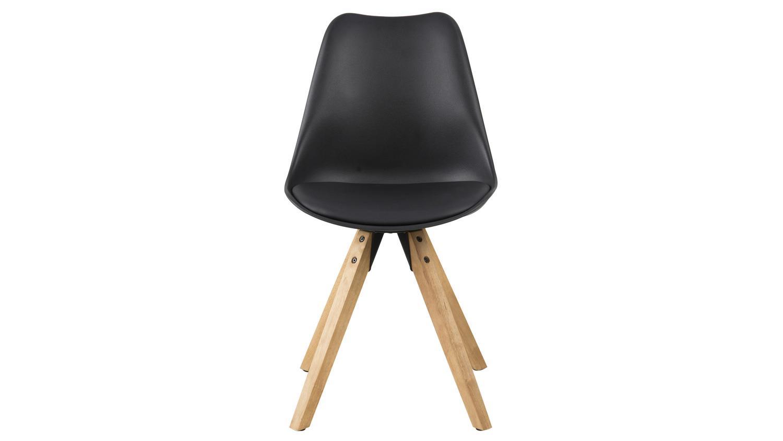 Stuhl dima 2er set kunststoff gepolstert schwarz beine eiche for Stuhl gepolstert