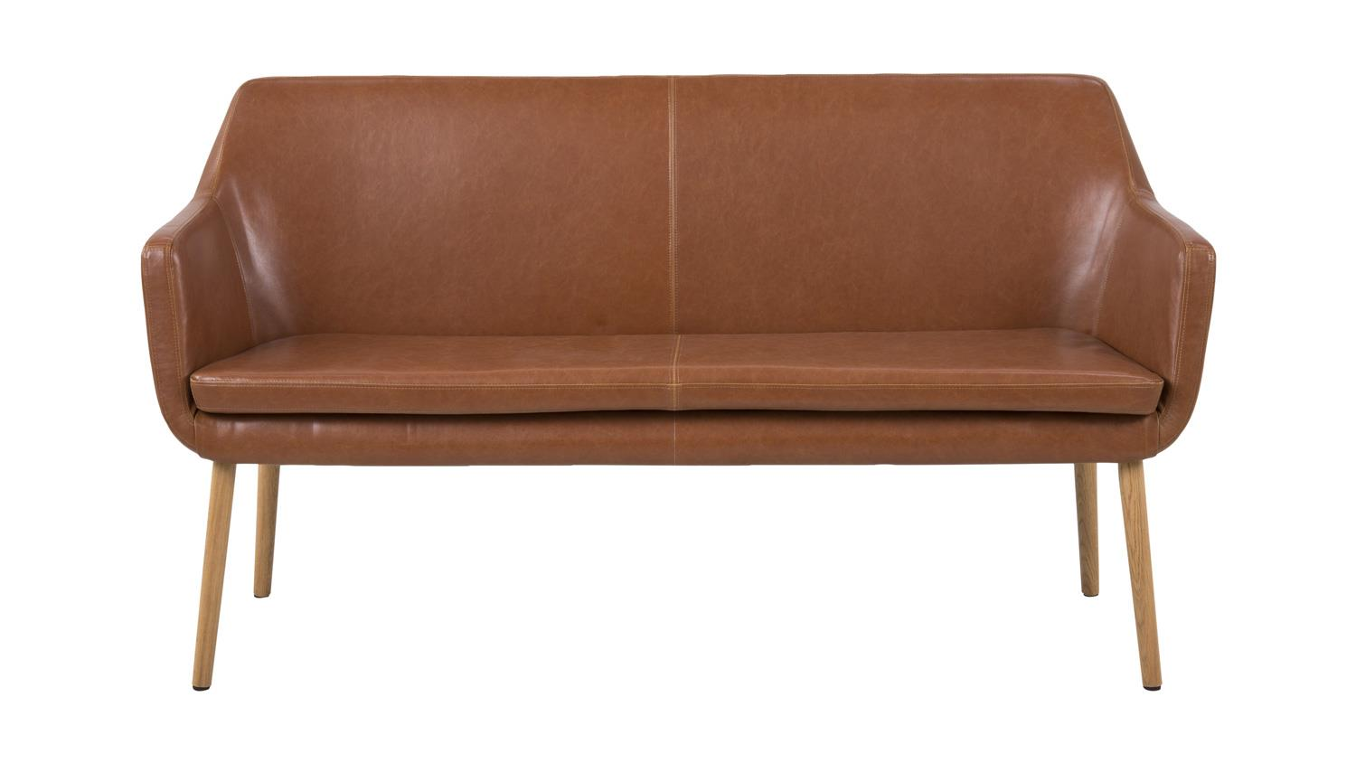 sofa nora sofabank in lederlook vintage braun cognac eiche. Black Bedroom Furniture Sets. Home Design Ideas